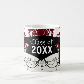 dark red on white leafy damask pattern graduation basic white mug