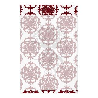 dark red on white leafy damask pattern custom stationery