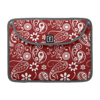 Dark Red Paisley Floral Sleeves For MacBooks