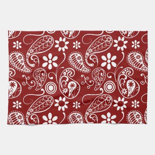 Dark Red Paisley; Floral Tea Towel