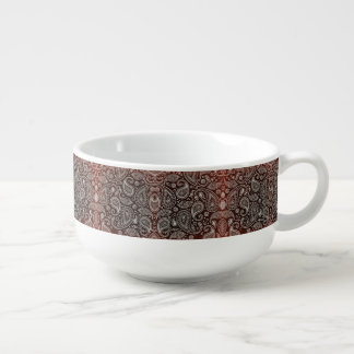 Dark Red Paisley Retro Pattern Soup Mug