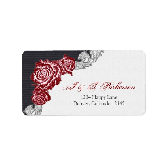 Dark Red Rose Wedding Return Address Label