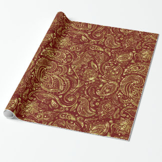 Dark Red & Shiny Gold Floral paisley Pattern Wrapping Paper