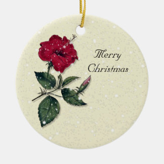 Dark Red Single Hibiscus Blossom Christmas Ornament
