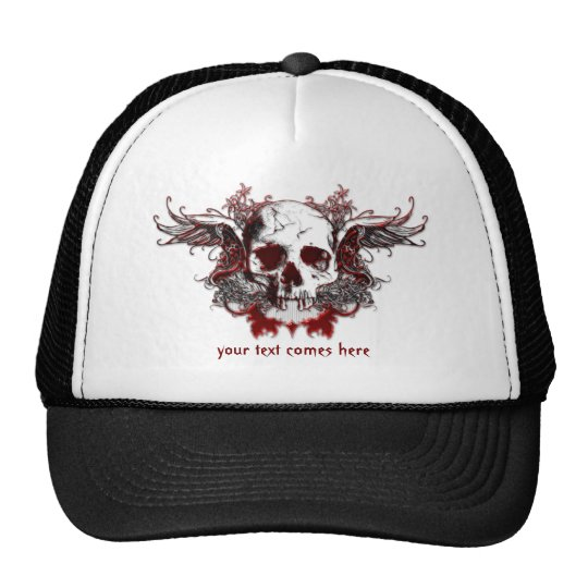 dark red skull Hat