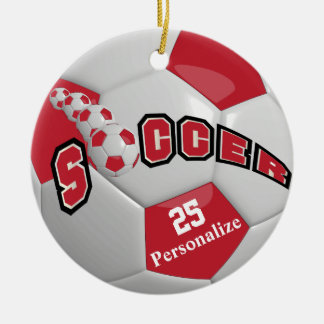 Dark Red Soccer Ball | Personalize Round Ceramic Decoration