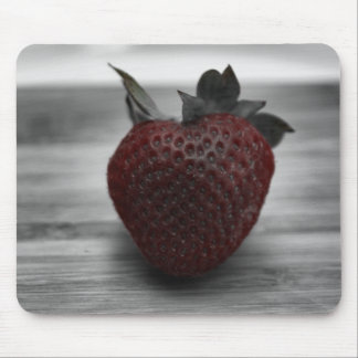 Dark Red Strawberry on Black and White Mouse Pad