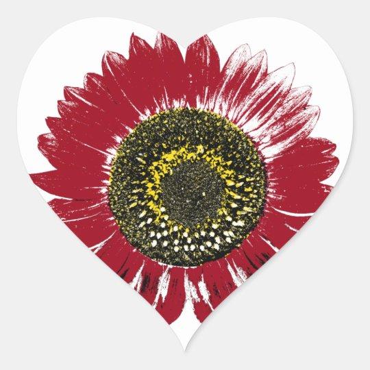 Dark Red Sunflower Heart Sticker