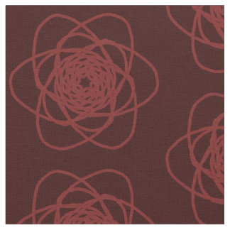 Dark red swirling flower outline dark red fabric