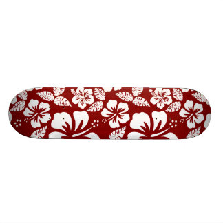 Dark Red Tropical Hibiscus Skate Board