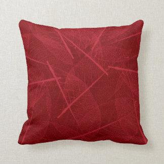 Dark Red Vein Leaf Design Throw Pillow