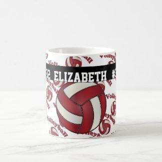 Dark Red Volleyball | Personalize Basic White Mug