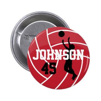 Dark Red Volleyball with Silhoutte Player 6 Cm Round Badge