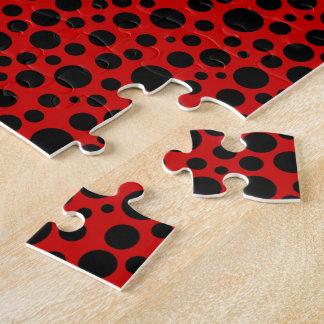 Dark Red w/Black Circles Jigsaw Puzzle