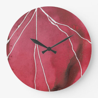 Dark Red Watercolour Marble Break Large Clock