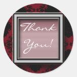 Dark Red Wedding Matching Stickers, Thank You!