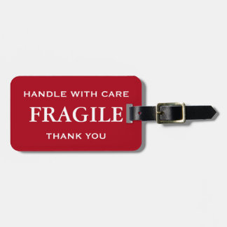 Dark Red White Fragile Handle with Care Thank You Luggage Tag