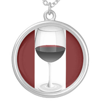 DARK RED WINE GLASS ROUND PENDANT NECKLACE