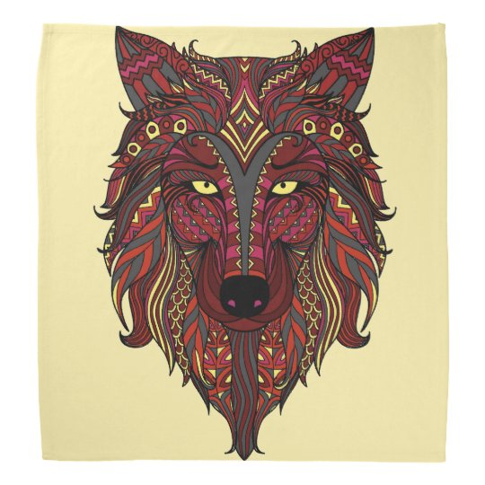 Dark Red Wolf Head grey burgundy Bandana