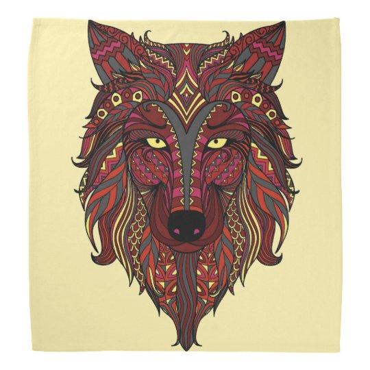 Dark Red Wolf Head grey burgundy Bandanna