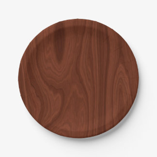 Dark Red Wood Texture 7 Inch Paper Plate