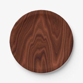 Dark Red Wood Texture Paper Plate