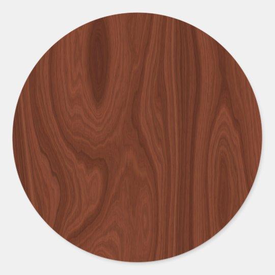 Dark Red Wood Texture Round Sticker