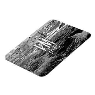 Dark River Industrial Black and White Rectangular Photo Magnet