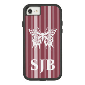 Dark Rose Victorian Stripe with Butterfly Case-Mate Tough Extreme iPhone 8/7 Case