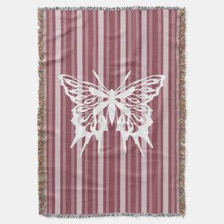 Dark Rose Victorian Stripe with Butterfly Throw Blanket