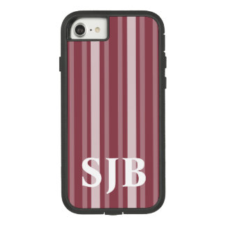 Dark Rose Victorian Stripe with Monogram Case-Mate Tough Extreme iPhone 8/7 Case