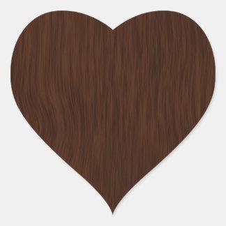 Dark Rough Wood Grain Background Heart Sticker
