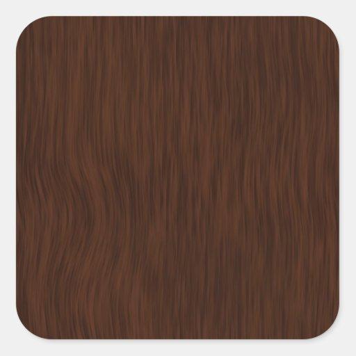 Dark Rough Wood Grain Background Square Sticker