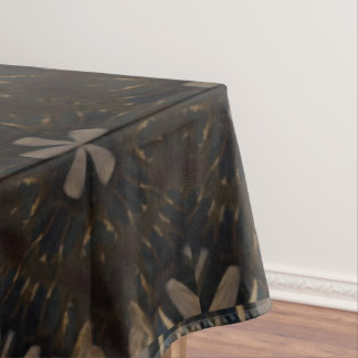 Dark Rustic Brown Floral Kaleidoscope Pattern Tablecloth