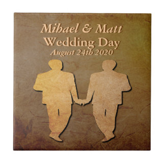 Dark Rustic Custom Grooms' Gay Wedding Gift Tile