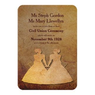 "Dark Rustic Lesbian Wedding Invitation 3.5"" X 5"" Invitation Card"