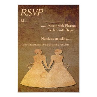 "Dark Rustic Lesbian Wedding RSVP 3.5"" X 5"" Invitation Card"