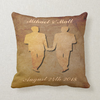 Dark Rustic Pillow Custom Gay Wedding Gift for Men