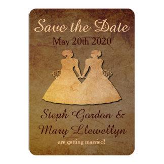 Dark Rustic Save the Date Card Lesbian Wedding 11 Cm X 16 Cm Invitation Card
