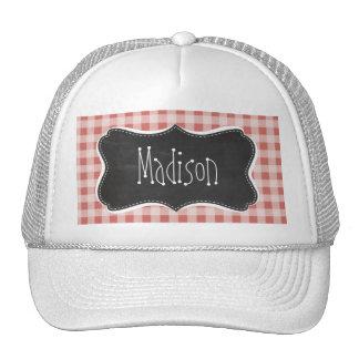 Dark Salmon Gingham; Checkered Hats