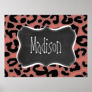 Dark Salmon Leopard; Chalkboard Poster