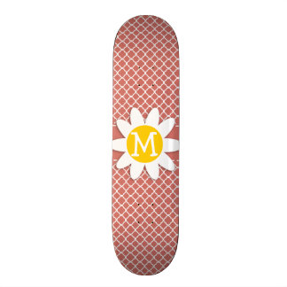 Dark Salmon Quatrefoil Daisy Skate Board
