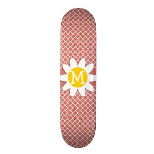 Dark Salmon Quatrefoil; Daisy Skate Board