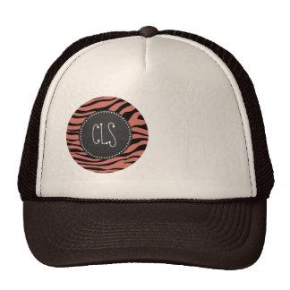 Dark Salmon Zebra Stripes; Chalk look Trucker Hat
