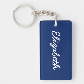 Dark Sapphire Solid Color Double-Sided Rectangular Acrylic Key Ring