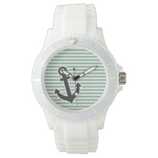 Dark Sea Green Horizontal Stripes; Anchor Watch
