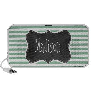 Dark Sea Green Horizontal Stripes; Chalkboard look Laptop Speaker