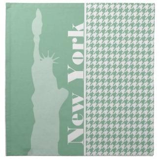Dark Sea Green Houndstooth; Statue of Liberty Cloth Napkins