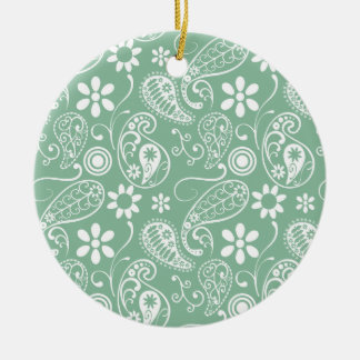 Dark Sea Green Paisley Double-Sided Ceramic Round Christmas Ornament