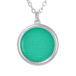 Dark Seafoam Green Weave Mesh Look Round Pendant Necklace
